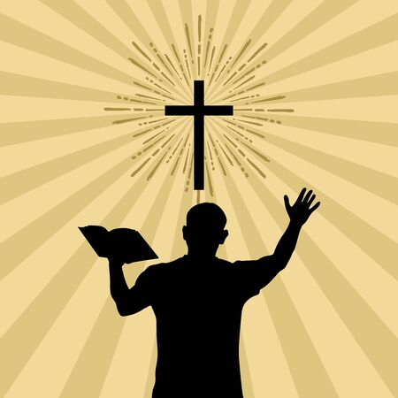 Silhouette of a man turned to God with prayer and worship. 版權商用圖片 - 126892906