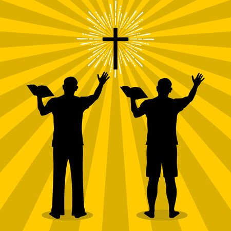 La silueta de un hombre se volvió hacia Dios con oración y adoración.