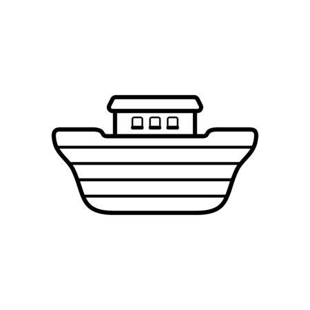 Logo of Noahs Ark. Ship to rescue animals. Biblical illustration.