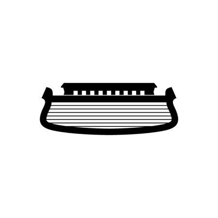 Logo of Noah's Ark. Ship to rescue animals. Biblical illustration.