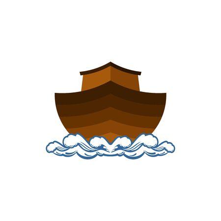 Logo der Arche Noah. Schiff zur Rettung von Tieren. Biblische Abbildung. Logo