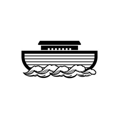 Logo der Arche Noah. Schiff zur Rettung von Tieren. Biblische Abbildung.