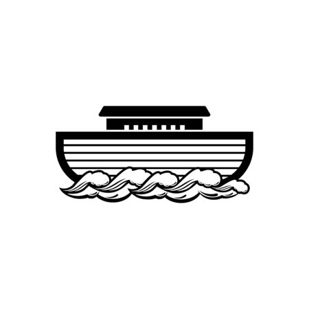 Logo of Noah's Ark. Ship to rescue animals. Biblical illustration.