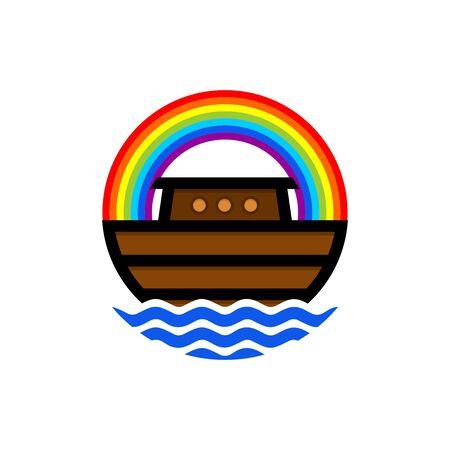 Logo der Arche Noah. Rainbow - ein Symbol des Bundes. Taube mit einem Olivenzweig. Schiff, um Tiere zu retten. Biblische Abbildung. Logo