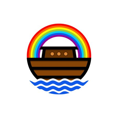 Logo of Noah's Ark. Rainbow - a symbol of the covenant. Dove with a branch of olive. Ship to rescue animals. Biblical illustration. Illustration