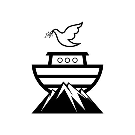 Noah's logo on top of the mountain. Dove with a branch of olive. Ship to rescue animals. Biblical illustration.
