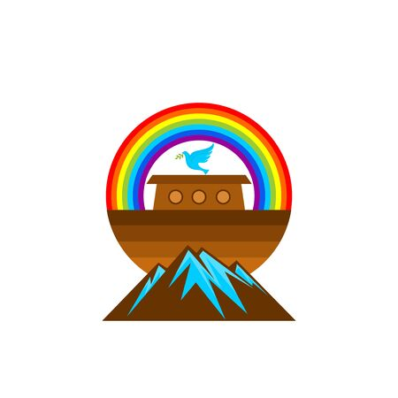 Logo of Noahs Ark. Rainbow - a symbol of the covenant. Dove with a branch of olive. Ship to rescue animals. Biblical illustration.