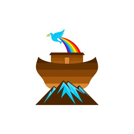 Logo of Noah's Ark. Rainbow - a symbol of the covenant. Dove with a branch of olive. Ship to rescue animals. Biblical illustration. Çizim