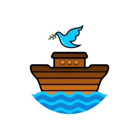Logo der Arche Noah. Taube mit einem Olivenzweig. Schiff, um Tiere zu retten. Biblische Abbildung. Logo