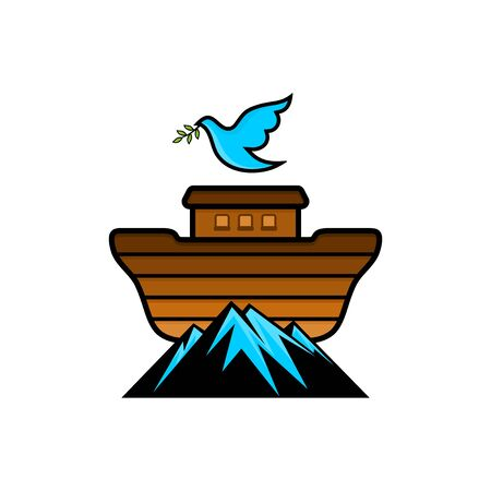 Noahs logo on top of the mountain. Dove with a branch of olive. Ship to rescue animals. Biblical illustration. 向量圖像