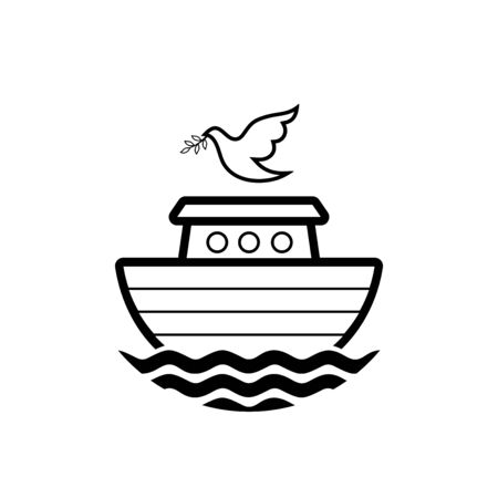 Logo of Noahs Ark. Dove with a branch of olive. Ship to rescue animals. Biblical illustration. 向量圖像