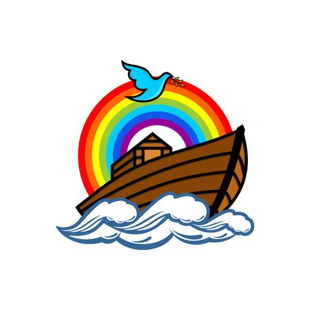 Logo of Noah's Ark. Rainbow - a symbol of the covenant. Dove with a branch of olive. Ship to rescue animals. Biblical illustration. 向量圖像