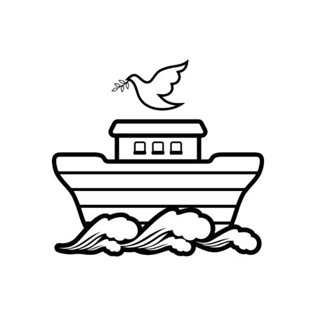 Logo of Noah's Ark. Dove with a branch of olive. Ship to rescue animals. Biblical illustration.