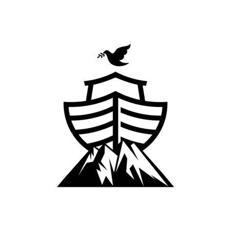 Noahs Logo auf dem Berg. Taube mit einem Olivenzweig. Schiff, um Tiere zu retten. Biblische Abbildung.