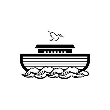 Logo of Noahs Ark. Dove with a branch of olive. Ship to rescue animals. Biblical illustration. Çizim