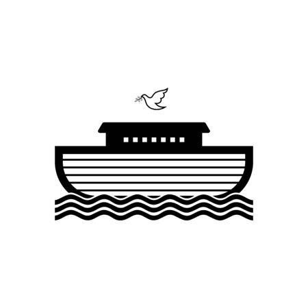 Logo der Arche Noah. Taube mit einem Olivenzweig. Schiff, um Tiere zu retten. Biblische Abbildung.