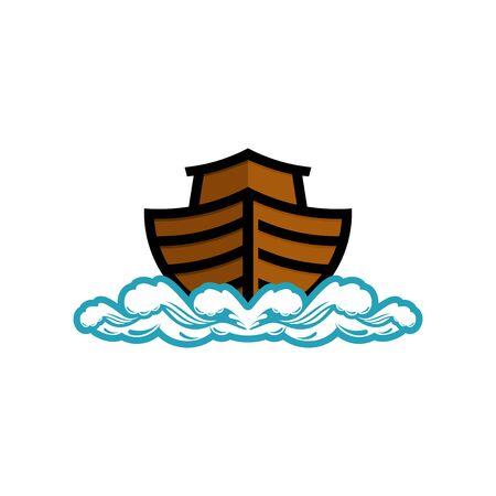 Logo of Noahs Ark. Ship to rescue animals. Biblical illustration.