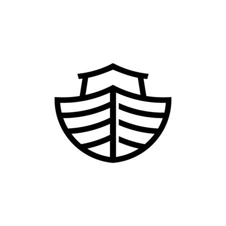 Logo of Noah's Ark. Ship to rescue animals. Biblical illustration. Banque d'images - 126893001