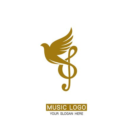 Music logo. Music logo. Treble clef on a dove background
