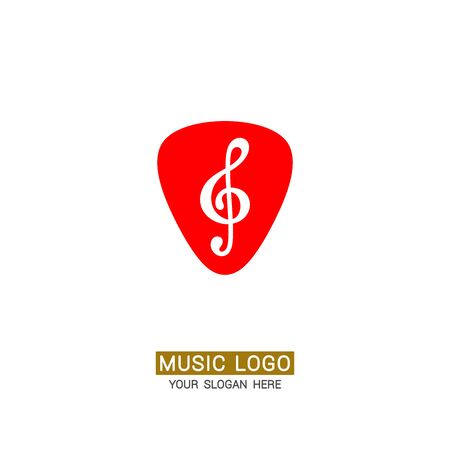 Music logo. Treble clef against the background of a guitar pick.