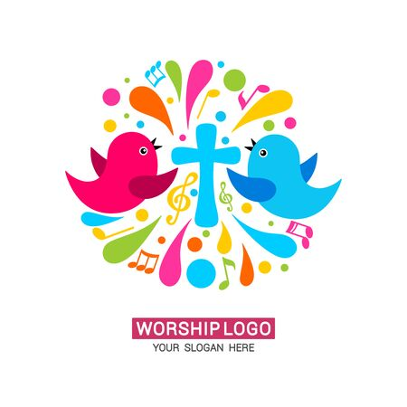 Worship logo. The family glorifies God, sings to Him glory and praise. Stock fotó - 130098207