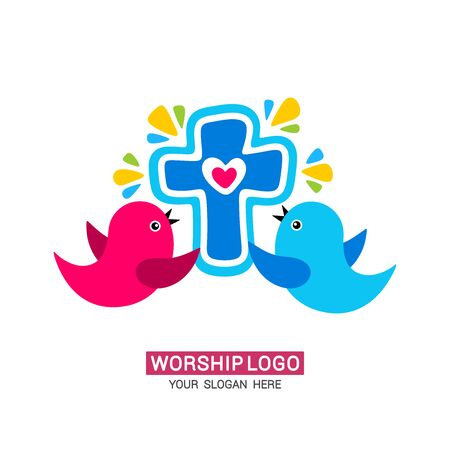 Worship logo. The family glorifies God, sings to Him glory and praise. Stock fotó - 130098215