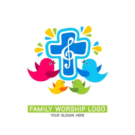 Worship logo. The family glorifies God, sings to Him glory and praise.