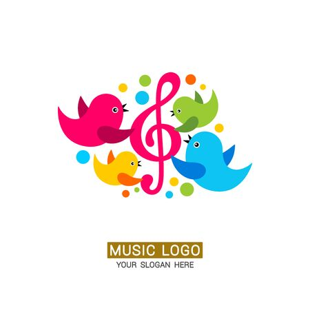 Music logo. Birds sing into a microphone, musical notes around.