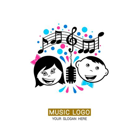 Music logo. Girl and boy on a rainbow background with musical notes