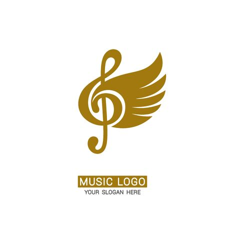 Music logo. Winged treble clef. Logo