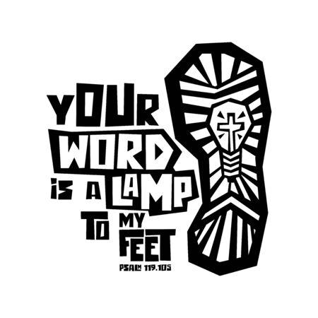 Christliche Typografie, Schrift und Illustration. Dein Wort ist eine Lampe zu meinen Füßen. Vektorgrafik
