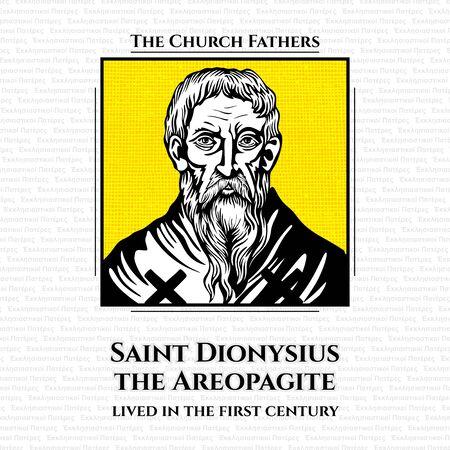 Die Kirchenväter. Der heilige Dionysius der Areopagit war Richter am Areopag-Gericht in Athen, der im ersten Jahrhundert lebte. Er war einer der ersten Athener, der an Christus glaubte. Vektorgrafik