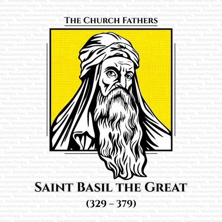 The church fathers. Saint Basil the Great (329 - 379), was the bishop of Caesarea Mazaca in Cappadocia, Asia Minor. He was an influential theologian who supported the Nicene Creed and opposed the heresies of the early Christian church. Stock Illustratie