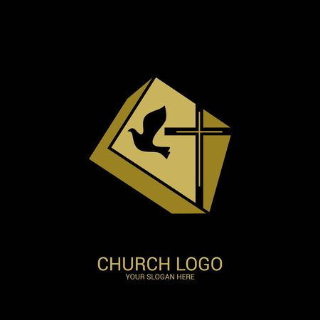 Church logo. Christian symbols. Cross of the Savior Jesus and dove as a symbol of the Holy Spirit