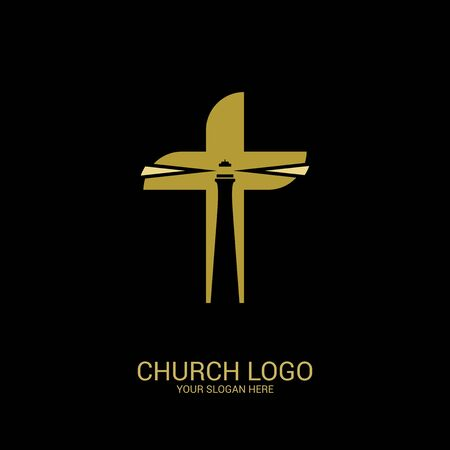 Church logo. Christian symbols. The lighthouse is the light of truth inside the cross of Jesus.