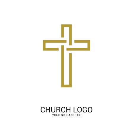 Logotipo de la iglesia. Símbolos cristianos. Cruz del Señor y Salvador Jesucristo