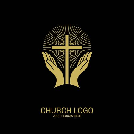 Church logo. Christian symbols. Hands turned to the cross of the Savior Jesus Christ