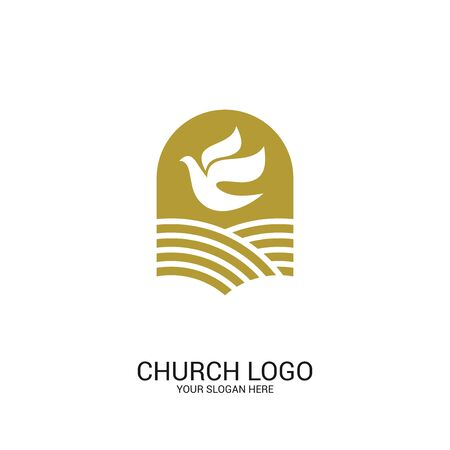 Church logo. Christian symbols. Pigeon symbol