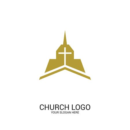 Church logo. Christian symbols. Cross of the Savior Jesus on the background of the building