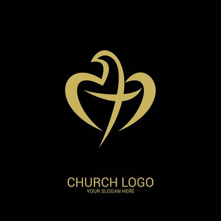Church logo. Christian symbols. A dove forming a heart, and inside the cross of Christ