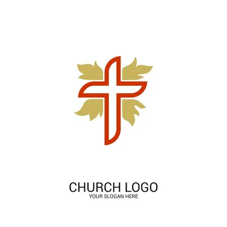 Church logo. Christian symbols. The Cross of the Savior Jesus and the flames of the Holy Spirit Иллюстрация