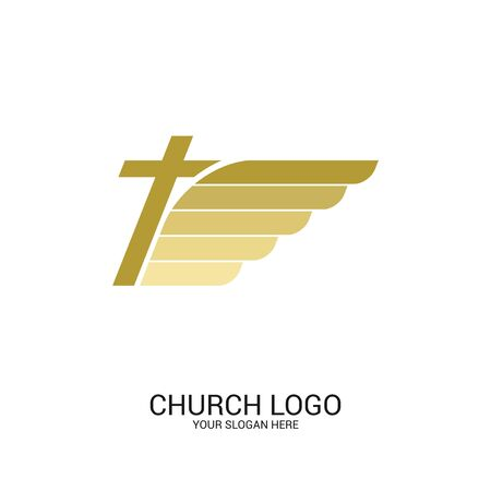 Church logo. Christian symbols. The cross of Jesus Christ and the stylized image of the wing - a symbol of the Holy Spirit