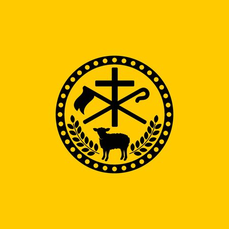 Christian symbols. The cross of Jesus Christ, the sacrificial lamb and the shepherds staff. Ilustração