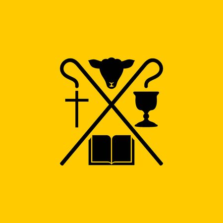 Christian symbols. The Bible, the cross of Jesus Christ, the sacrificial lamb and the cup of communion. Ilustração