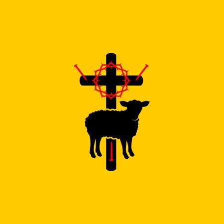 Christian symbols. Symbols of Jesus Christ are a cross, a crown of thorns, a sacrificial lamb and a shepherds staff.