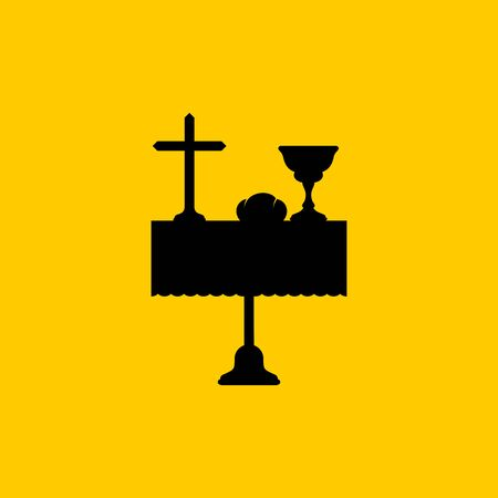 Christian symbols. A table with biblical symbols of the commandment of the sacrament - a cup of wine, bread and the cross of Jesus Christ.