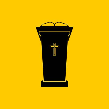 Christian symbols. The chair of the preacher in the church. Tribune for Gods Word. Ilustração