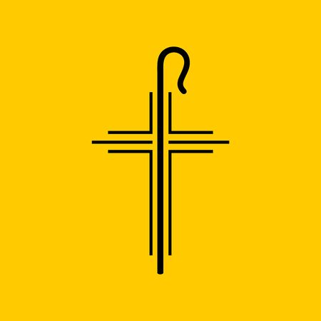 Christian symbols. The cross of Jesus and the shepherds staff.