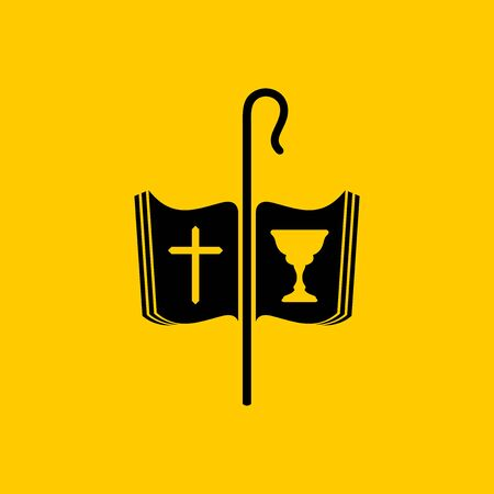 Christian symbols. The cross of Jesus, the Bible, the cup of communion and the staff of the shepherd. Ilustração