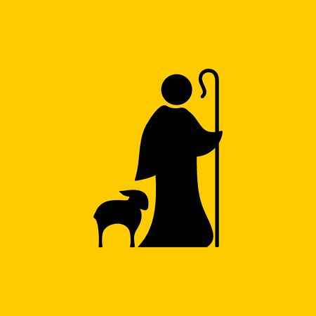 Christian symbols. Shepherd and faithful sheep. Ilustração